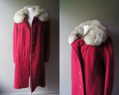 Vintage Red Coat with Tick Fur Collar