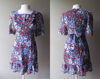 Vintage MINI DRESS Fitted Floral 60's Mod Short Small Dress - Blue Orange White