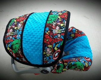 Marvel super hero infant car seat cover- Custom Order by Baby Seat Covers By Jill - always comes with free strap covers