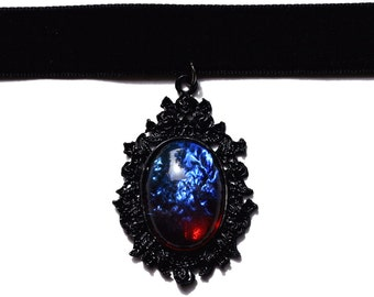 Dragon Breath Opal Velvet Choker Necklace