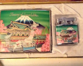 Vintage Memory of Japan and Korea Enamel Cigarette Lighter and Case, Luxe, Tobacciana