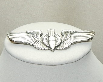 WWII Sterling silver bombadier wings,Military wings,Bombadier wings,Silver wings,Army Airforce wings,WWII Army Airforce wings,sterling wings