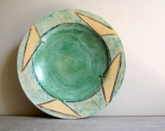 Vintage Pottery Bowl , Handmade Geometric Bowl , Coffee Table Bowl , Decorative Art Pottery Bowl , Modern Decor