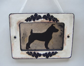 Jack Russell Dog Wall Art Shabby Chic Antiqued Mirror Black White French Country Home Cottage Pet Lover