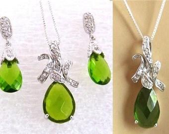 Peridot Green Jewelry Set, Sterling Silver, Rhinestone, Teardrop Green Crystal Necklace, Dangle Earring, Green Crystal Jewelry Set