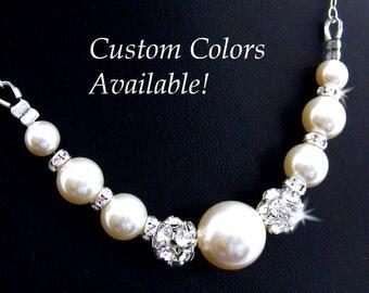 Bridal Pearl Necklace Rhinestone Pearl Wedding Necklace, Bridesmaid Pearl Necklace, Mother of the Bride Pearl Necklace Wedding Jewelry