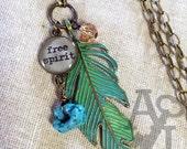 Free Spirit Bohemian Gypsy feather necklace