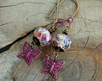 Pink Patinated Butterfly Lampwork Handmade Earrings