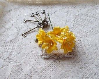 Shabby Chic Lily Flowers for Scrapbooking, Card Making, Altered Art, Tags, Mixed Media, Wedding, Yello