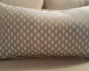 pillow cover ikat white on natural linen with jute piping