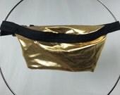SALE Gold Metallic Fanny Pack / Fun Hip Bag / Adjustable Strap Handmade by GAG THREADS