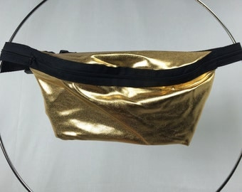 SALE Gold Metallic Fanny Pack / Fun Hip Bag / Adjustable Strap Handmade by GAG THREADS