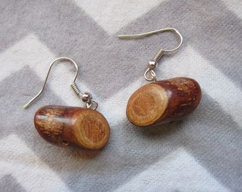 My Log Saw Something earrings, inspired by  the Log Lady. Made with real wood mini logs.