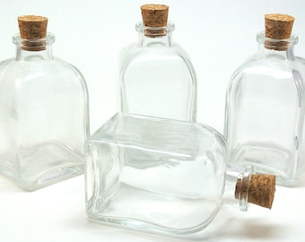 4 Small Roma Glass Bottles- 3.4 Ounce, 100ML for Reed Diffusers, Terrariums, DIY Favors, Oil and Vinegar, Seasonings, Bath Salt, Candy