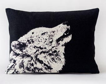Lone Wolf Pillow- White