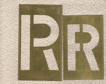 Stencil Letter R 5 inch Brass Stencil