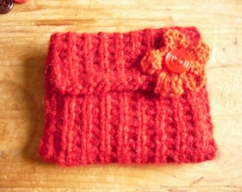 Hand Knitted Coin Purse, Red Recycled Yarn Coin purse