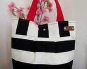 TEACHER BAG Tote Beach Bag Striped Large Beach Bag Black and White Nautical Stripes Bag Shoulder Bag Preppy Fashion Bags Summer Tote