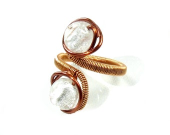 Statement ring, snow white ring, silver foil glass beads, copper handmade jewelry