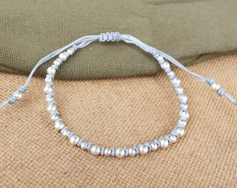 Grey Friendship Bracelet with Silver Color Bead