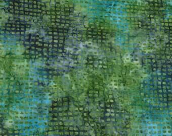 Cotton Batik-Green and Blue Dots-1/2 Yard