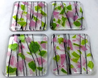 Fused Glass Coasters with Rose Pink and  Iridescent Leaf Green - set of 4 MTO
