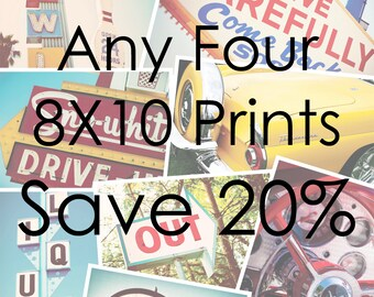 Choose Your Own Set of Four 8x10 Fine Art Photographs - Save 20% - Retro Home Decor - Mid Century Modern - Discounted Print Set
