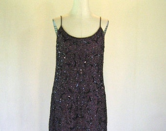 Plum Floral Beaded Tank Evening Dress