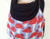 MEI TAI Baby Carrier / Sling / Reversible/ Mushrom with Black in leg cut model/ Cotton / Handmade / Made in UK