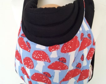 MEI TAI Baby Carrier / Sling / Reversible/ Mushrom with Black in leg cut model/ Cotton / Handmade / Made in UK