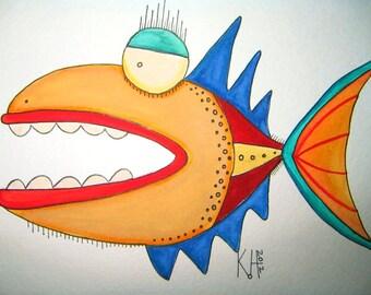 Fish Watercolor J7, Original Watercolor Painting, by Fig Jam Studio