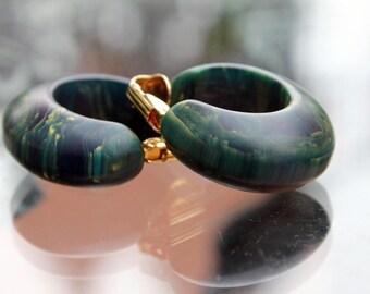 Bakelite Hoop Earrings in Blue Moon - Chunky and Funky!