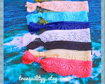 Lace Hair Ties  Stretch 7 Hair Ties Pack ,  Arm Candy Stretch Bands,  Kawaii, Hipster , Girls Teens, By: Tranquilityy