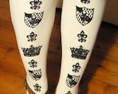 S M Crown Print Tights Small Medium Black on White Printed Womens Royal Victorian Lolita Dolly Kei