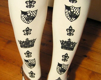 S M Black White Tights Crown Small Medium Printed Womens Royal Victorian Lolita Dolly Kei