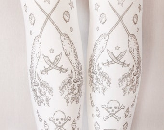 Classic Lolita Pirate Tights Narwhals Large Silver on White Tattoo Sailor Anchor Nautical Steampunk