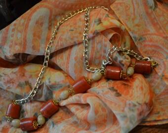 Necklace Vintage Boho Festival Rust
