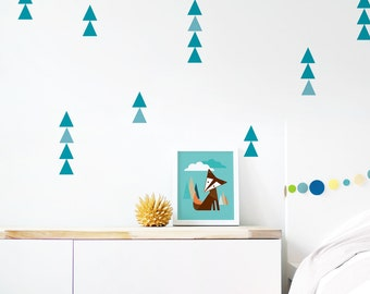 Removable Wall Decal, Eco Friendly Home Decor, Triangle Sticker, Baby Nursery, Teal Decor, Kids Wall Decor. Little Peaks Fabric Wall Decal