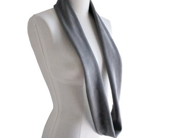 Leather Scarf Grey - Soft Lamb Suede Scarf - Gray leather - infinity scarf - Suede Loop scarf -  Avant garde scarf - mens scarf - women