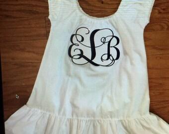 White monogrammed ruffle dress SALE