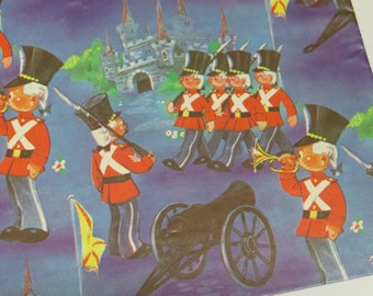 Vintage Gift Wrap Sheet ~ Army ~ Soldiers ~ Cannons ~ Castles