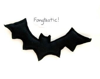 Black Bat -  Stuffed Toy - Hemp Organic Cotton Toy - Upcycled - Eco Friendly - Halloween Decor