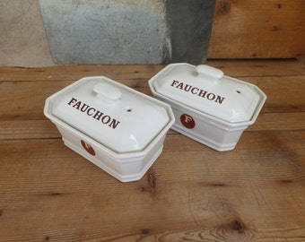 Vintage 2 traditional french terrines from FAUCHON  Paris white china