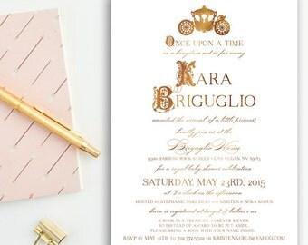 Gold & Copper, Fairytale Princess, Royal Celebration, Girl Baby Shower Invitations