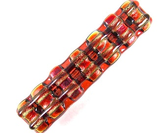 """Dichroic Barrette / Orange Red Flame Rust Pumpkin Tangerine Rainbow Multicolor Rock Candy Fused Glass - 2.5"""" - Chunky Layers- Small"""