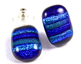 Dichroic Glass Earring - Blue Cobalt Teal Green Rainbow Striped Fused Glass - Sapphire Emerald Cyan Dichro Skinny Post or Clip - 1/2""