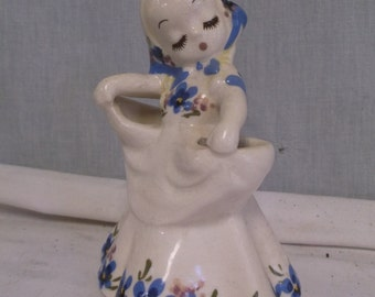 Vintage deLee Lady Vase, Blues, California Art Pottery