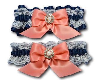 Wedding garters - bridal garters - navy blue satin and white lace garter set with coral bow and crystal pearl charm rhinestones - blue coral