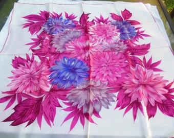 Purple & Pinks Floral Print Scarf, Acetate Satin Made in Japan