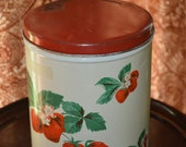 Vintage Strawberry Distressed Tin-Canister